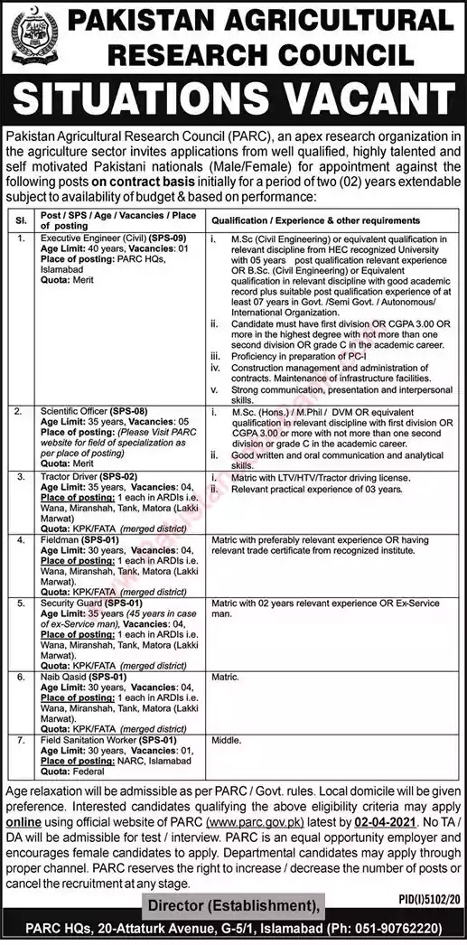 New Jobs in Pakistan Agricultural Research Council Islamabad Jobs 2021 | Apply Online