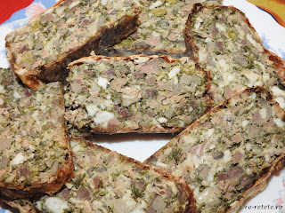 Drob de miel in prapure reteta traditionala de Paște gatit cu carne grasime organe maruntaie ceapa verde marar patrunjel copt la cuptor retete mancare aperitive Paști,