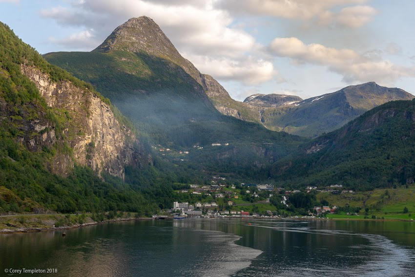 Geiranger, Norway. Photo by Corey Templeton. August 2018. This was from the scenic village of Geiranger as the ship was leaving.