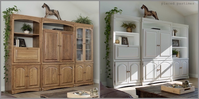 Stained Wood Wall Unit Painted Gray at Pieced Pastimes