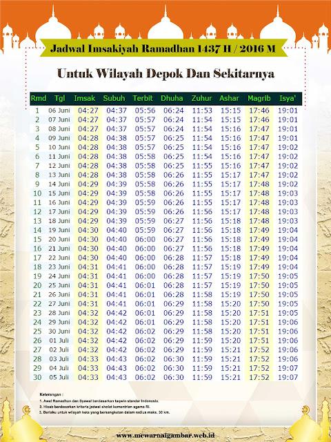 Jadwal Imsakiyah Depok 1437 H 2016 M