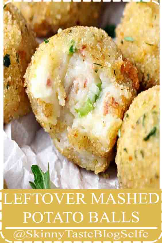 4.9 | ★★★★★ Leftover Mashed Potato Balls -- Leftover mashed potatoes are mixed with shredded cheese, green onion and bacon, then coated in breadcrumbs and fried until crispy. The ultimate way to use up leftover mashed potatoes! #leftovers #thanksgiving #potatoes #recipes #POTATO #BALLS