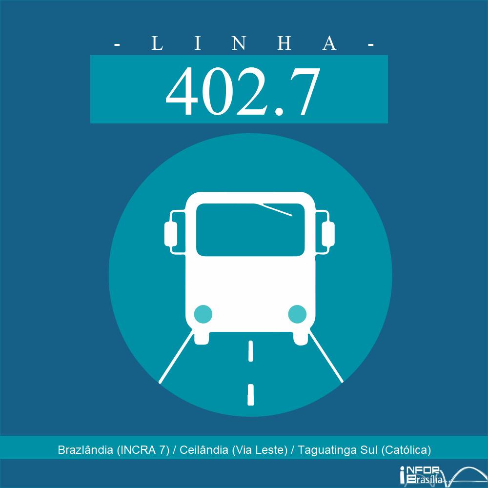 Horário de ônibus e itinerário 402.7 - Brazlândia (INCRA 7) / Ceilândia (Via Leste) / Taguatinga Sul (Católica)
