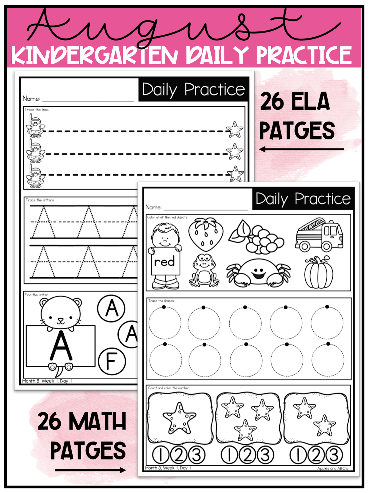 medium resolution of Kindergarten Morning Work / Digital and Paper for Distance Learning -  Apples and ABC's