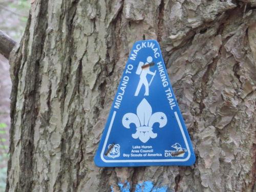 Midland to Mackinac Trail Boy Scout marker