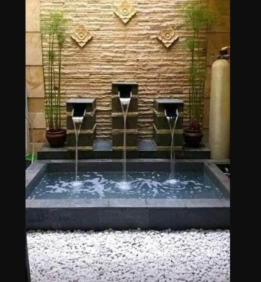 taman rumah minimalis type 45 dengan kolam ikan