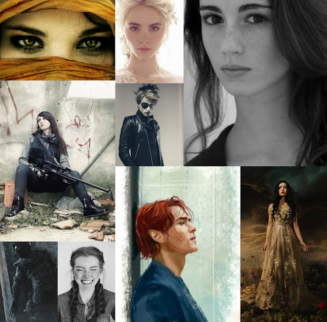 Collage of character pictures for Killing Snow, by Savannah Grace