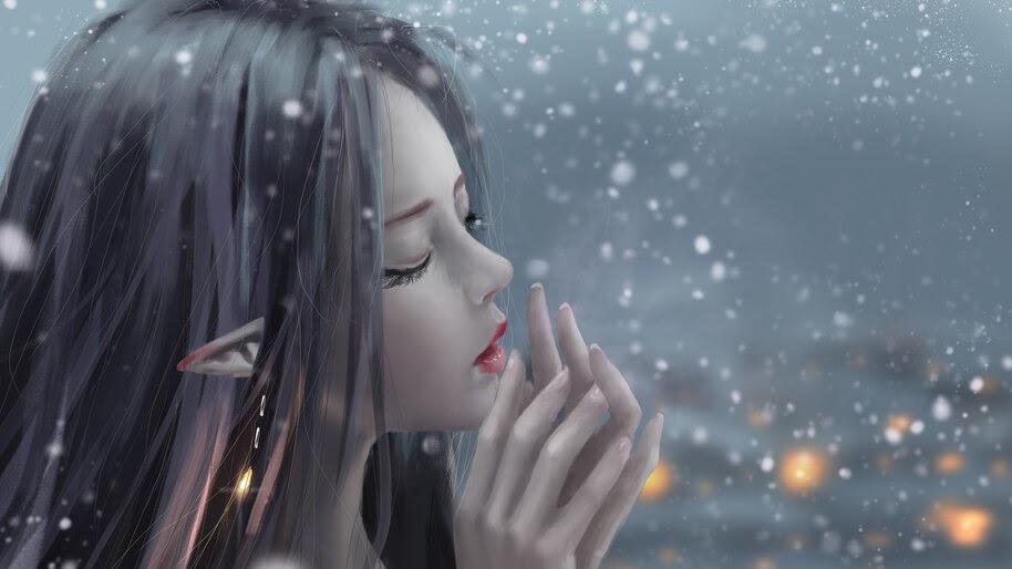 Elf, Girl, Snow, Fantasy, 4K, #4.3083