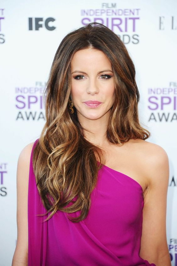 11 warm brunette hair with caramel and light balayge by Kate Beckinsale