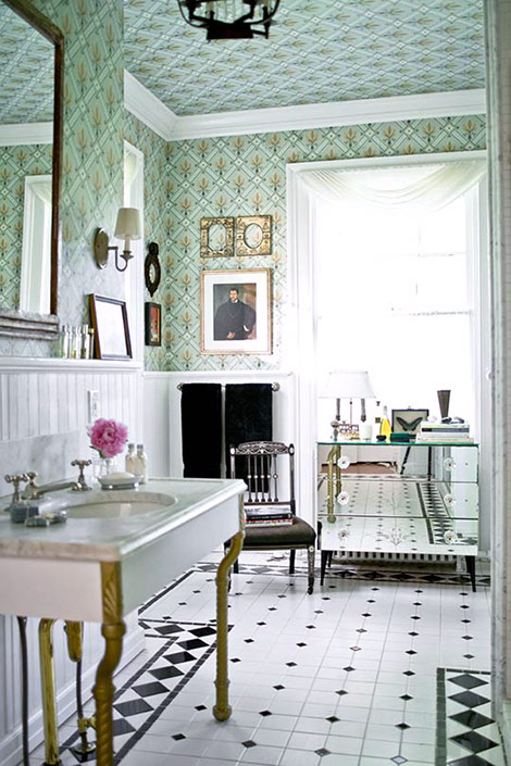 Black And White Powder Room Wallpaper