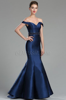 navy blue off the shoulder mermaid evening dress
