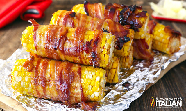 Candied-Bacon Wrapped Corn