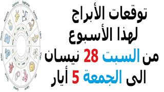 توقعات الأبراج لهذا الأسبوع من السبت 28 نيسان الى الجمعة 5 أيار 2018