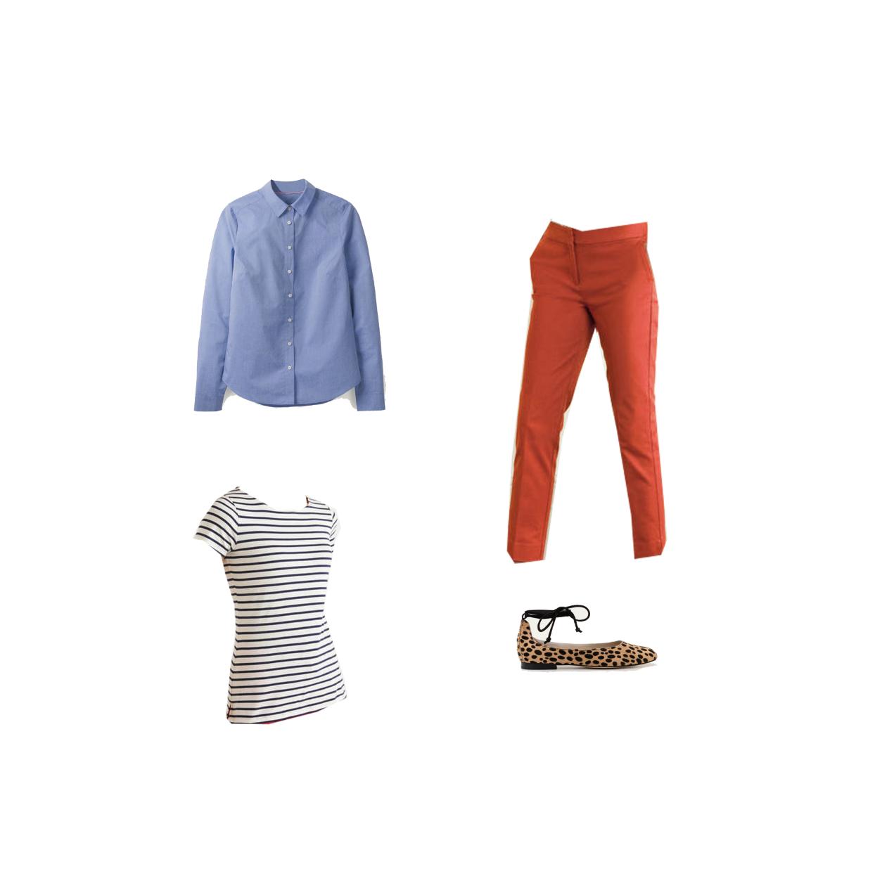 my midlife fashion, boden short sleeve breton, boden chambray shirt, boden Effie ballet flats, boden ⅞ Richmond trousers