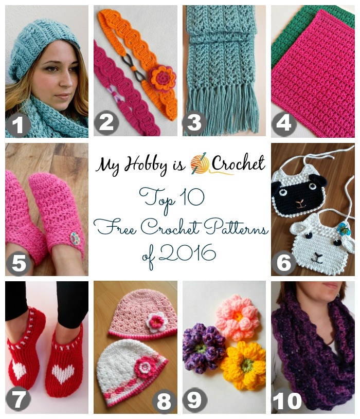 Top 10 Free Crochet Patterns of 2016 from My Hobby is Crochet