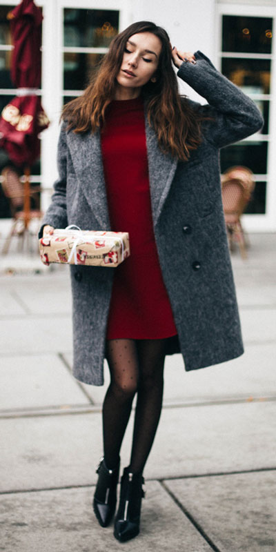 From casual outfits for family reunions to crazy trendy party outfits, we've got your back see these 24 Best Christmas Outfits You Can Shop this Holiday Season. | grey coat + red mini dress | #christmas #holiday #newyear #coat