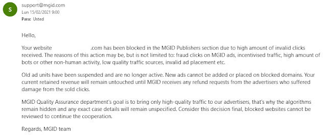 Mensaje soporte MGID baneo web