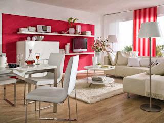 Sala moderna rojo blanco