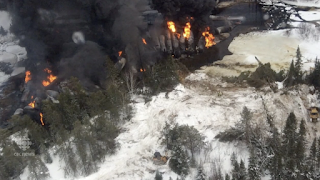 Gogama, Canada, oil train derailment in 2015. (Credit: Screen shot, CBC News) Click to Enlarge.