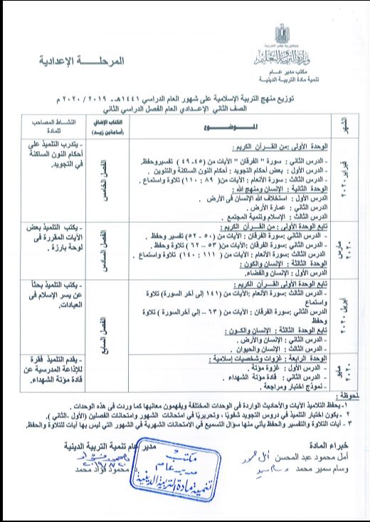 توزيع مناهج التربية الدينية الاسلامية لكل الصفوف و المراحل (ابتدائي - اعدادي - ثانوي) للعام الدراسي 2019 / 2020 4