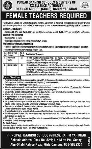 Punjab Daanish School Teaching Staff Jobs 2021