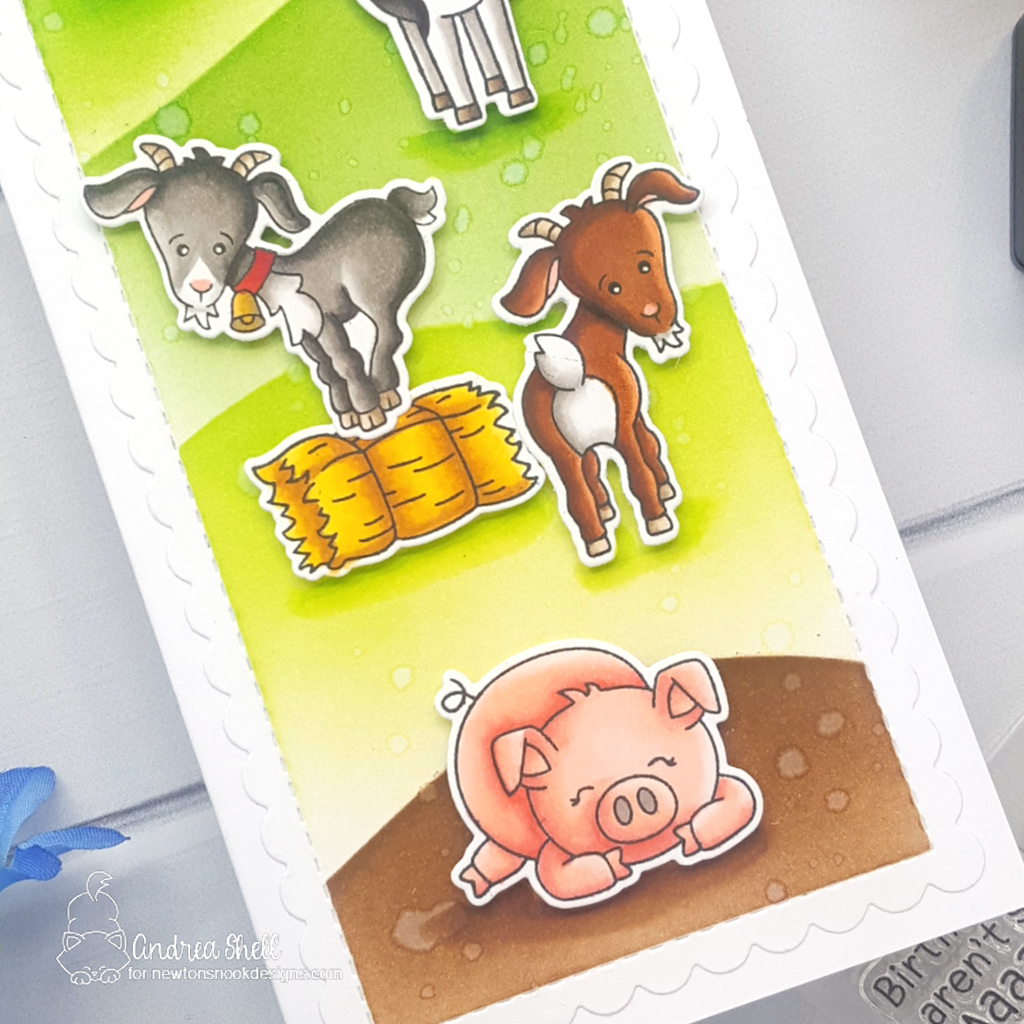 Hay There! Farm Scene Card by Andrea Shell | Bleat Stamp Set, Moo Stamp Set, Neigh Stamp Set, Oink Stamp Set, Slimline Frames & Portholes Die Set, Hills & Grass Stencil and Mountains Stencil by Newton's Nook Designs #newtonsnook #handmade