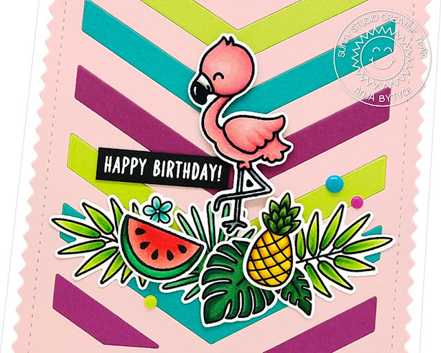 Sunny Studio Stamps: Frilly Frames Fabulous Flamingos Fresh & Fruity Tropical Paradise Happy Word Die Summer Themed Cards by Anja Bytyqi and Vanessa Menhorn