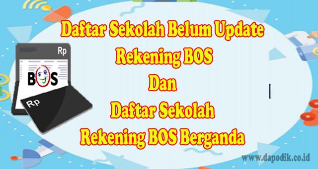 Catat, Daftar Sekolah Belum Update Data Rekening BOS dan Daftar Sekolah Rekening BOS Berganda – Perbaikan Data Persiapan BOS Tahun 2020