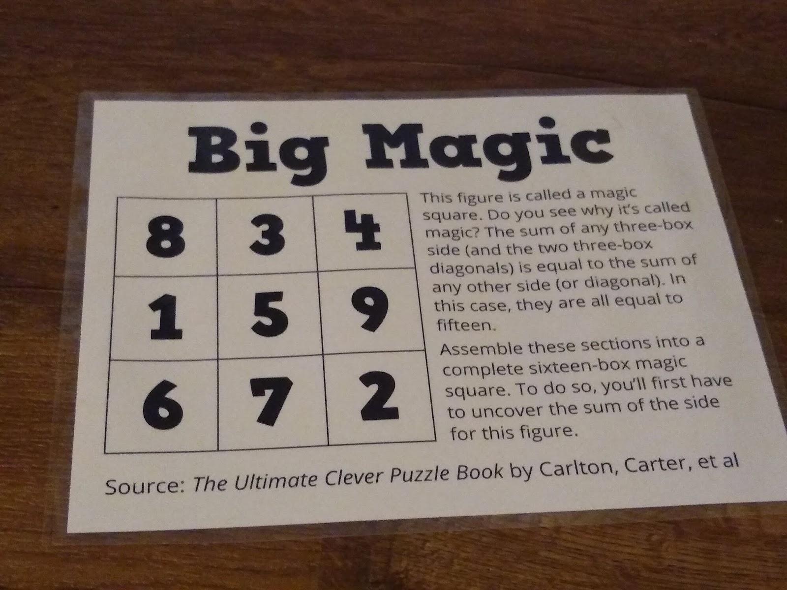 Math = Love: Big Magic - A Printable Magic Square Puzzle