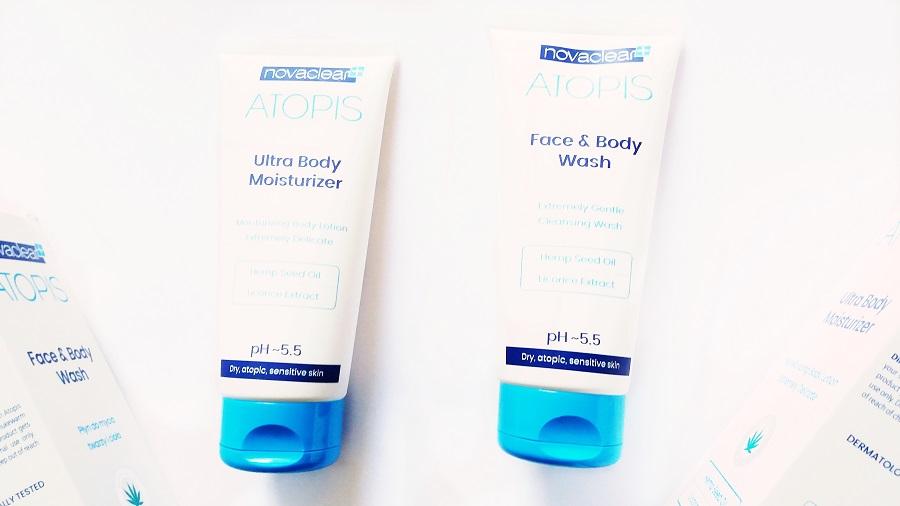 Novaclear • Atopis, Face & Body Wash, Płyn do mycia twarzy i ciała oraz Nawilżający balsam do ciała do skóry suchej, atopowej lub wrażliwej