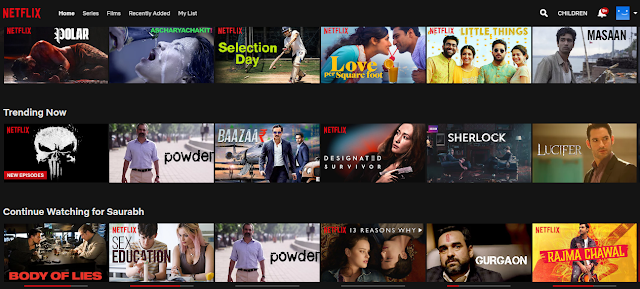 Netflix home scree, netflix and amazon, the story of becoming the largest online media streaming site