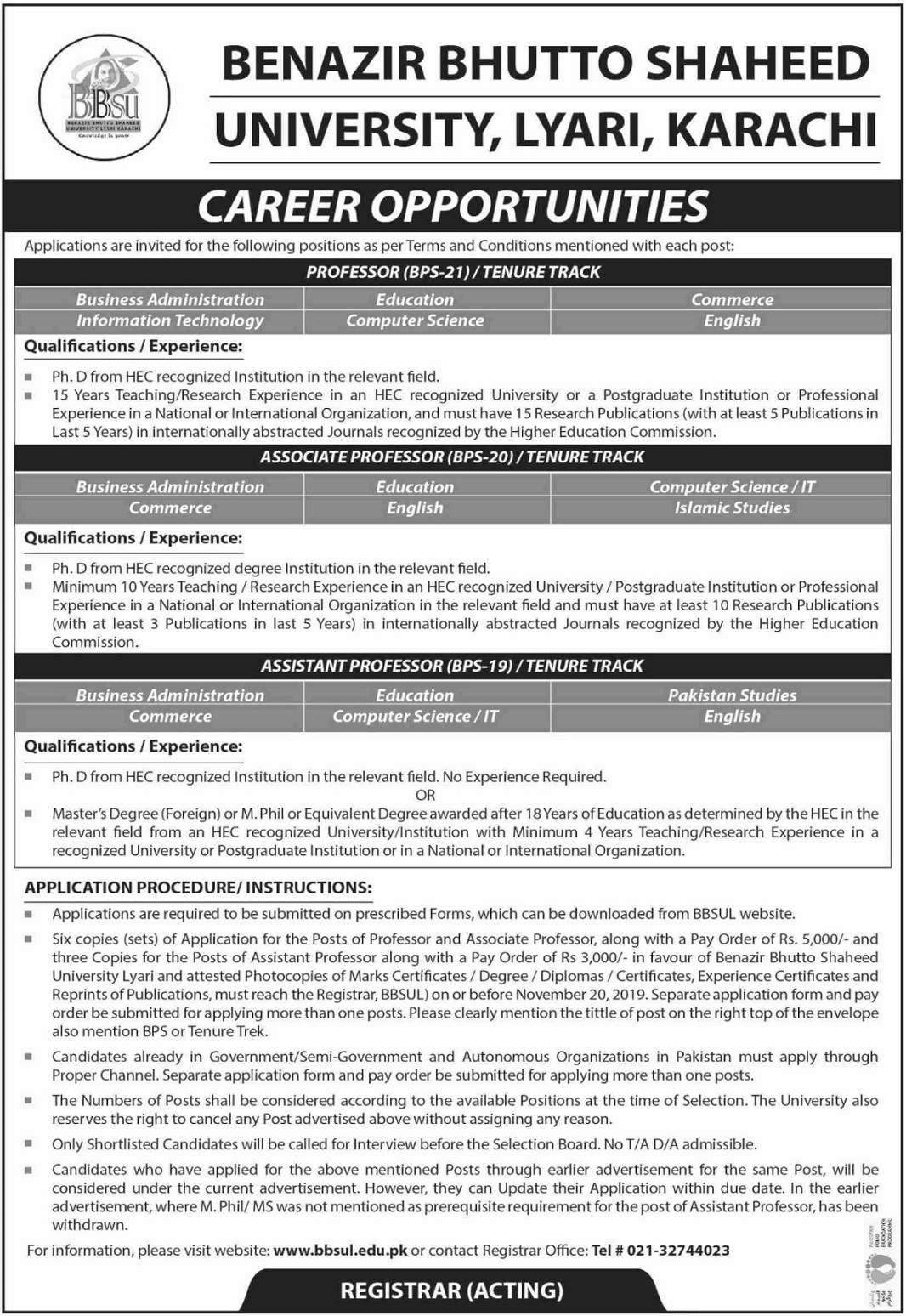 Latest Benazir Bhutto Shaheed University BBSU Lyari Karachi Jobs 2019