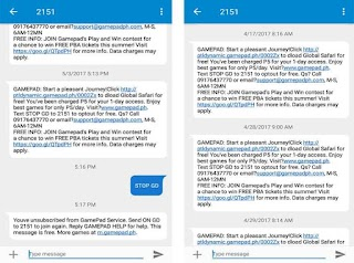 Globe SMS from 2151 or Gamepad – 5 Pesos Charge Per Message?