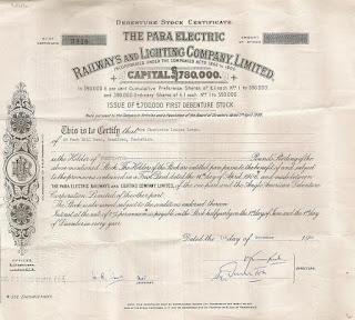 share certificate of the Para Electric Railways and Lighting Company
