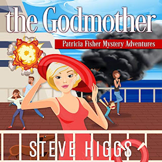 A blonde woman in a red dress and hat stands on a cruise ship. Two dogs stand nearby. In the background, things explode and people run screaming. The Godmother Patricia Fisher Mystery Adventures Audiobook Maryanne Wells Narrator