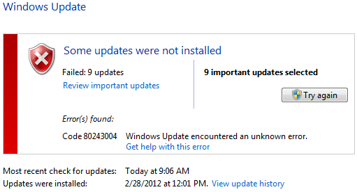 Windows Update Failing with Error 80243004 ~ Entity Opt Dell