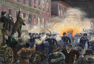 Dynamite Bomb Exploding Among Police Ranks  during the Haymarket Square Riot in Chicago, c.1886