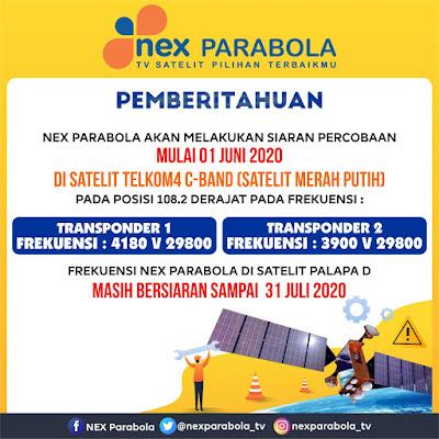 Transponder TP Frekuensi Nex Parabola Telkom 4 Terbaru 01 Juni 2020 C-Band