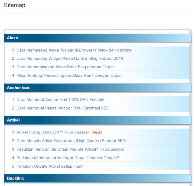 belajar cara membuat sitemap di blogger / blogspot