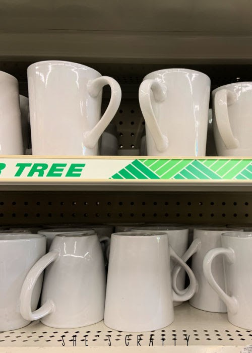 Dollar Store Supplies - white mugs and dishes
