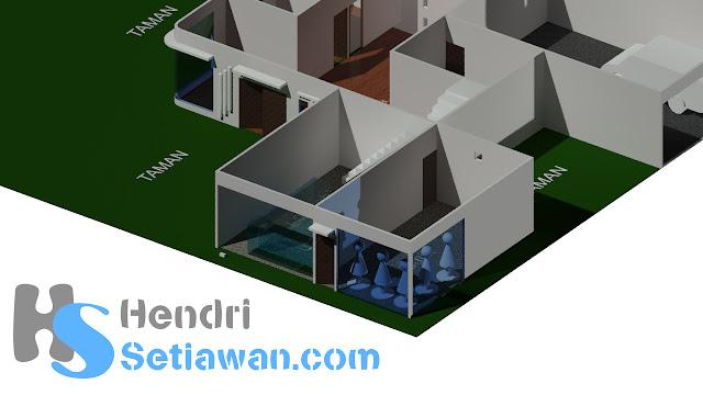Contoh Gambar Teknik AutoCad Denah Rumah 3D