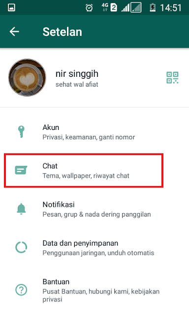 seting chat mode gelap wa