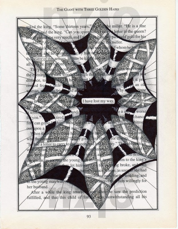 09-I-lost-my-way-Jo-Newsham-Zentangle-Drawings-on-Recycled-Vintage-Book-Pages-www-designstack-co
