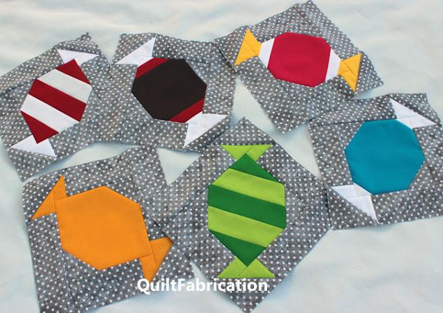 tootsie roll, peppermint, butterscotch, mint candies quilt blocks by QuiltFabrication