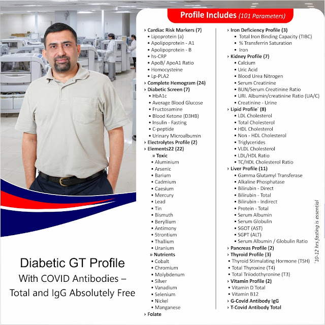 Diabetic GT Profile With Covid Antibodies Absolutely Free / HbA1c, ABG, Blood Ketone(D3HB) +Fructosamine + Insulin + C-peptide +Urinary Microalbumin ++ @ Rs 2250 / 101 tests