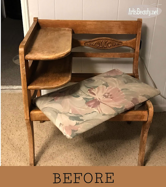 VINTAGE GOSSIP BENCH BEFORE MAKEOVER USING GENERAL FINISHES MILK PAINT IN BALLET PINK AND BLACK AND WHITE THRIFTED STRIPED FABRIC
