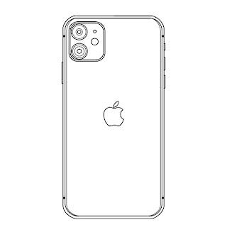 iphone11 back side vector line art