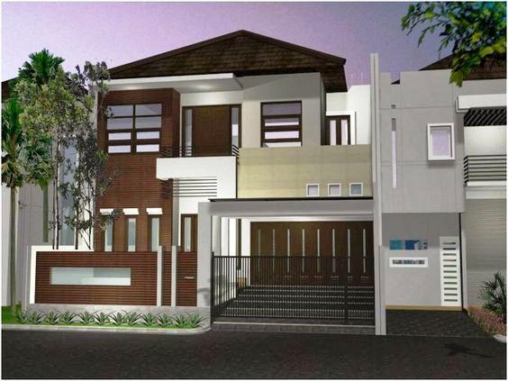 Rumah minimalis 2 lantai atap limasan dengan sentuhan eksterior kayu