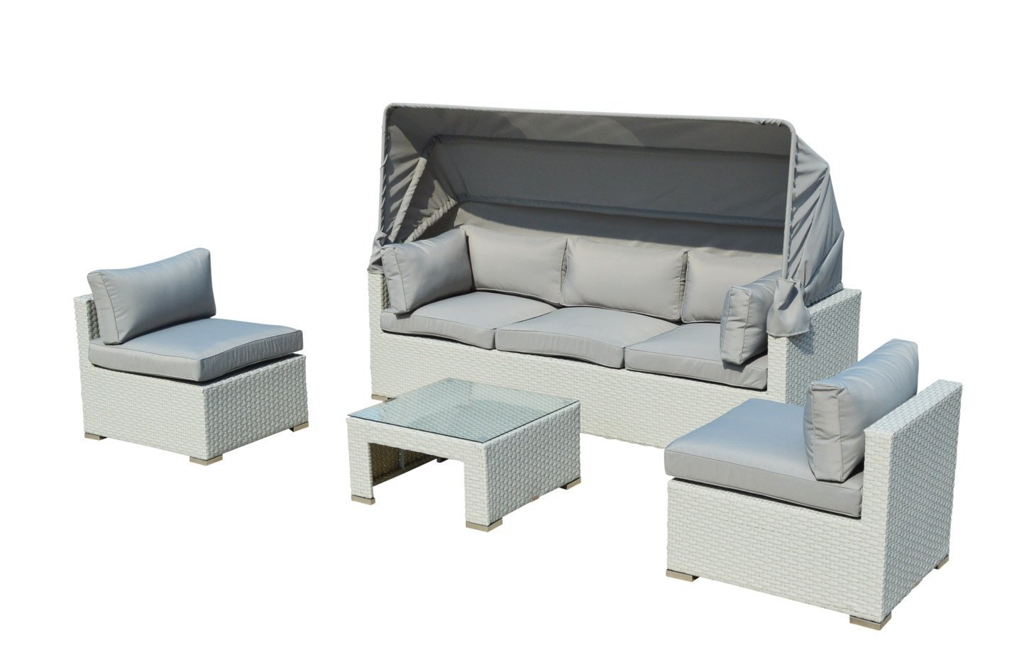 Outdoor Patio Furniture Backyard Sofa Modern All Weather Wicker Sectional  4pc Rattan Resin Couch Set