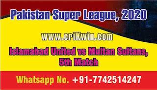 Who will win Today 5th match MUL vs ISL PSL 2020